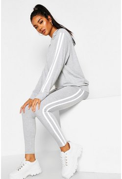 Grey marl grey Hooded Side Stripe Lounge Set