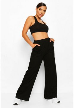 White Loop Back Wide Leg Lounge Jogger