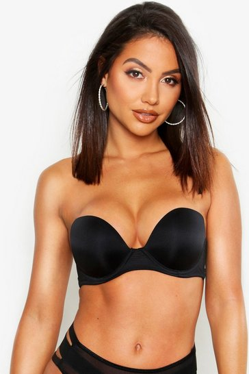 Black Super Push Up Strapless Bra