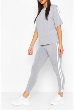 Grey Short Sleeve Side Stripe Lounge Set