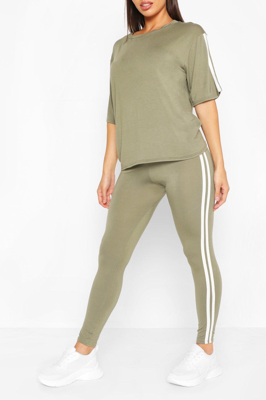 Loungewear Short Sleeve Side Stripe Lounge Set