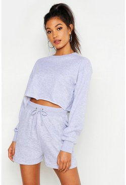 Grey marl grey Mix and Match Soft Cropped Loop Back Sweat