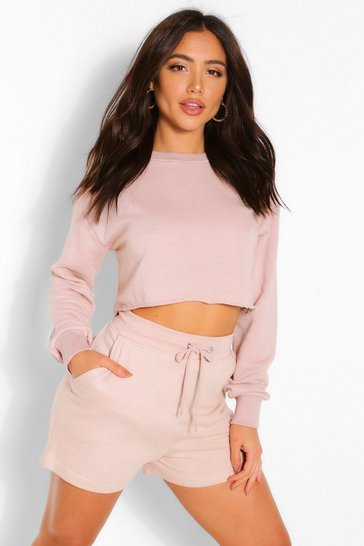 Rose pink Mix and Match Soft Cropped Loop Back Sweat