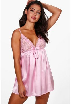 Pink Satin and Lace Bow Babydoll