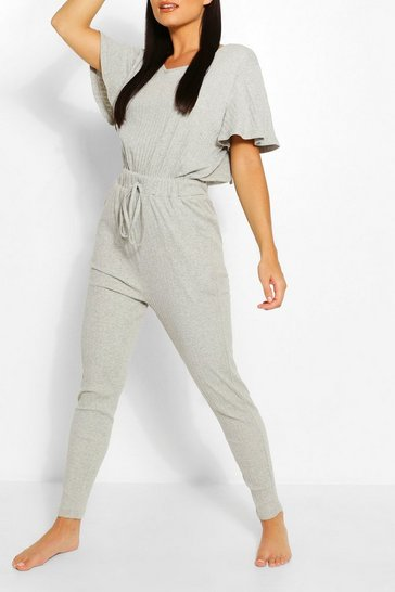 Grey Ribbed Slouch Tie Jumpsuit