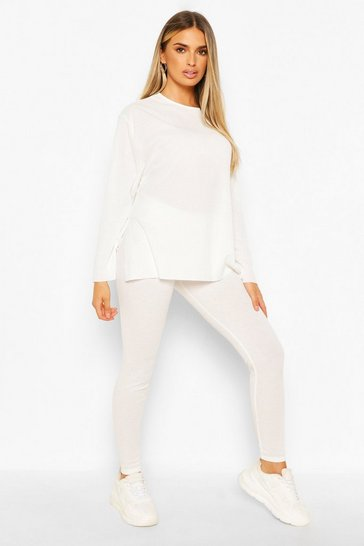 Cream white Ribbed Crew Neck Split Lounge Set