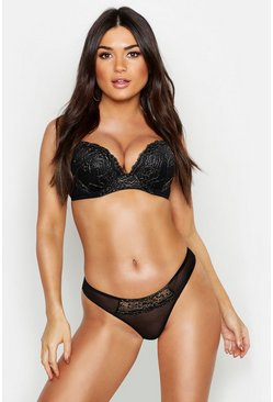 Black Glitter Lace Super Push Up Bra