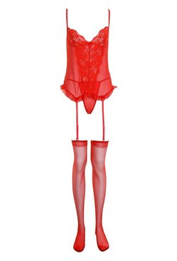 Red Lace Ruffle Basque String & Stocking Set