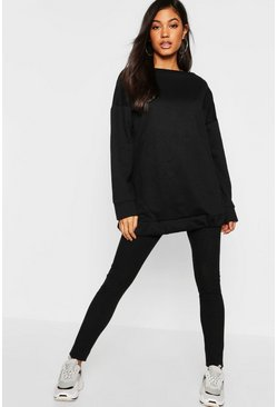 Black Oversized Lounge Sweater