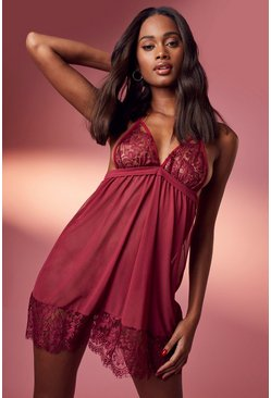 Wine Eyelash Lace Strapping Babydoll