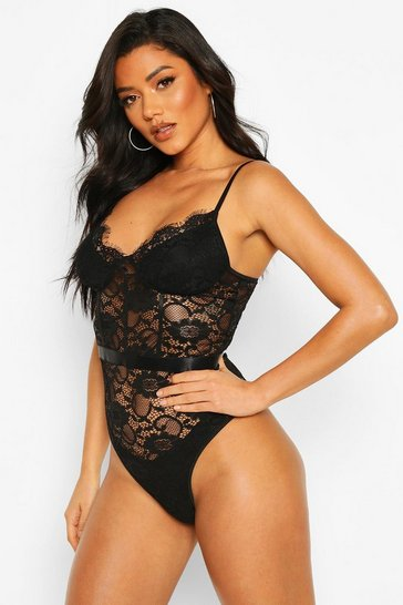 Black Eyelash Lace Waist Detail Body