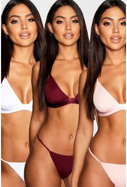 Wine red 3 Pack Triangle Bralette