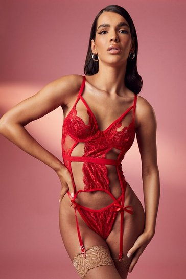 Red Cut Out Basque and String Set