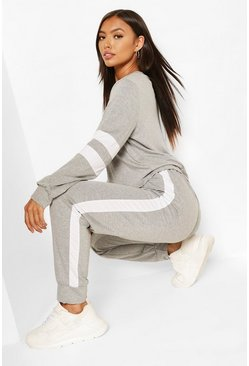 Grey Stripe Detail Lounge Set