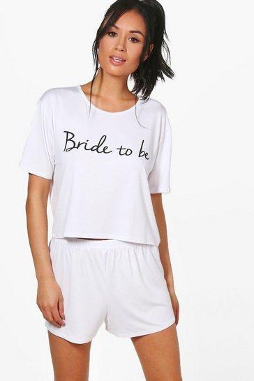 White Bride To Be T-Shirt & Short Set