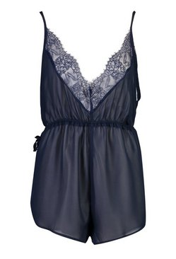 Navy Lace Trim Chiffon Teddy