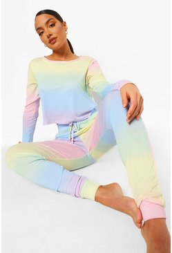 Multi Ombre Long Sleeve And Jogger Lounge set
