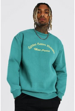 Green Loose Heavyweight Overdyed Embroidered Sweater