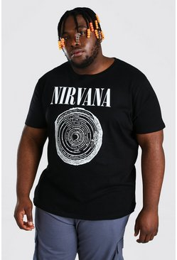 Plus Size Nirvana Circle License T-shirt, Black negro