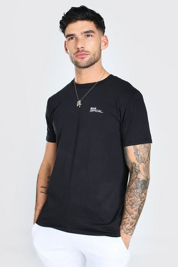 Black Man Official Chest Embroidered T-Shirt