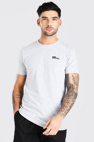 Grey marl grey Man Official Chest Embroidered T-Shirt