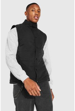 Black Funnel Neck Popper Smart Gilet