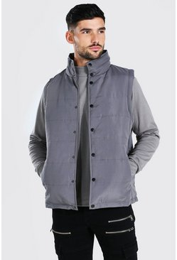 Grey Funnel Neck Popper Smart Gilet