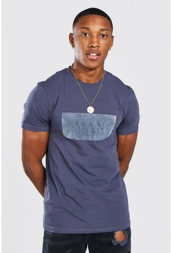 Charcoal grey Muscle Fit MAN Roman Flock Print T-Shirt