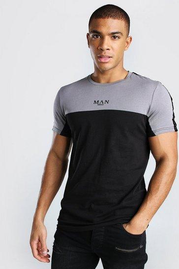 Black MAN Roman Muscle Fit Colour Block Tape T-Shirt