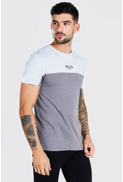 Dark grey grey MAN Roman Muscle Fit Colour Block Tape T-Shirt