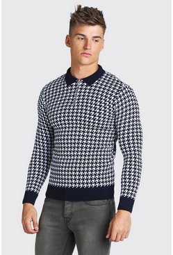 Navy Long Sleeve Half Zip Dogtooth Knitted Polo