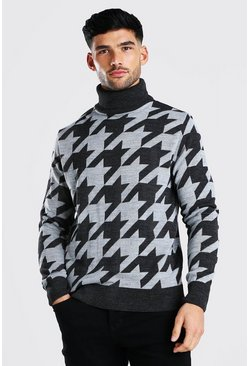 Charcoal Dogtooth Roll Neck Chunky Jumper
