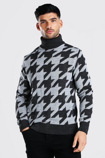 Charcoal grey Dogtooth Roll Neck Chunky Jumper