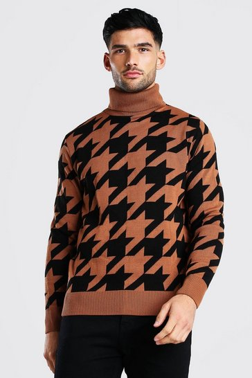 Rust orange Dogtooth Roll Neck Chunky Jumper