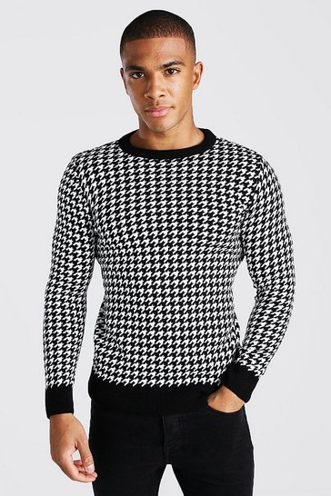 Black Muscle Fit Dogtooth Crew Neck Jumper