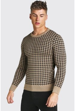 Taupe beige Muscle Fit Dogtooth Crew Neck Jumper