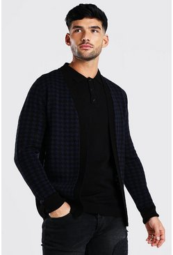 Black Dogtooth Knitted Cardigan