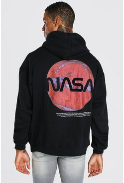 Black Oversized Nasa Back Print License Hoodie