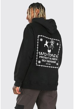 Oversized Wu-Tang Clan Protect Hoodie, Black nero