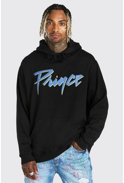 Black Oversized Prince Logo License Hoodie