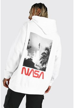 White Oversized NASA Rocket License Hoodie