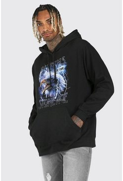 Black Oversized Queens of The Stone Age License Hoodie