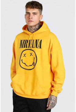 Yellow Oversized Nirvana License Hoodie