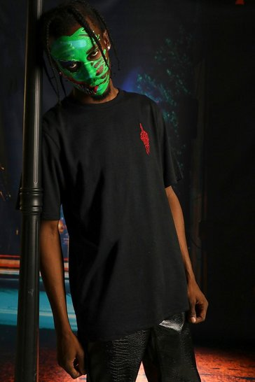 Black Halloween Hand Embroidered T-Shirt