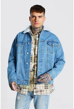 Oversized Borg Collar Denim Jacket, Light blue azul