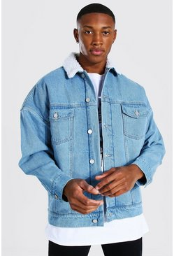 Light blue blue Oversized Borg Lined Denim Jacket