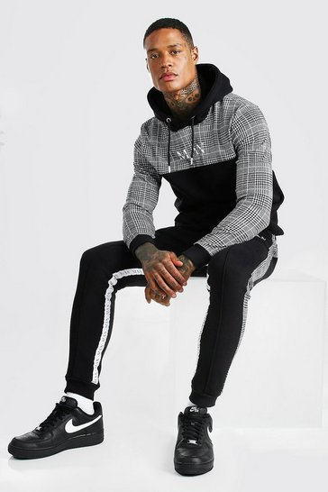 Black MAN Roman Tape Jacquard Panelled Tracksuit