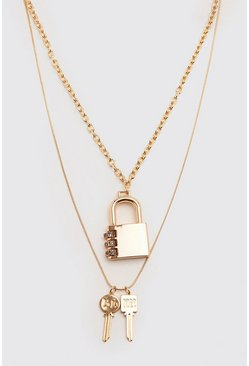 Gold metallic Padlock And Key Double Layer Chain