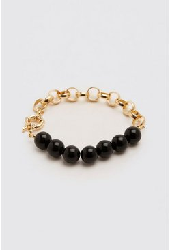 Contrast Beaded Chain Bracelet, Gold metálicos