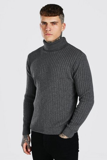 Charcoal grey Ribbed Long Sleeve Roll Neck Jumper